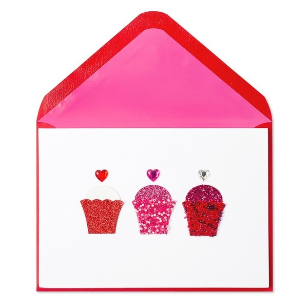 Papyrus Everyday Cards Glitter Heart Cupcakes