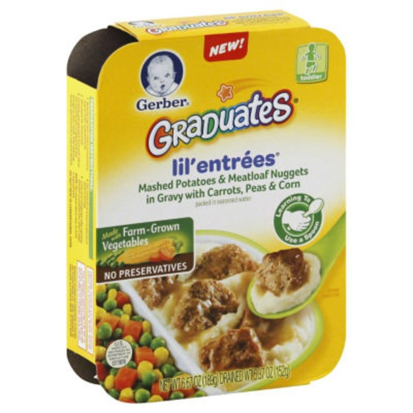 Gerber Graduates Lil' Entrees in Gravy with Carrots Peas & Corn Mashed Potatoes & Meatloaf Nuggets