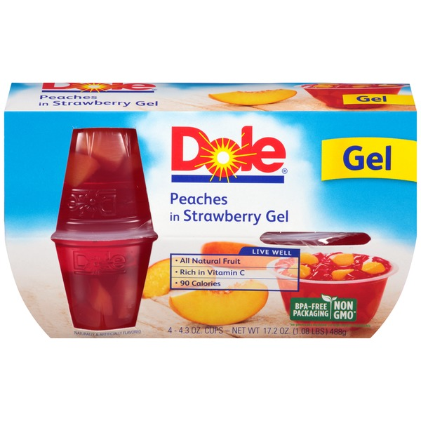 Dole Fruit Bowls in Strawberry Gel Peaches