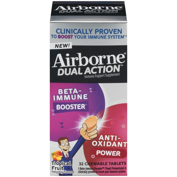 Airborne Dual Action Tropical Fruit Chewable Tablets Immune Support Supplement