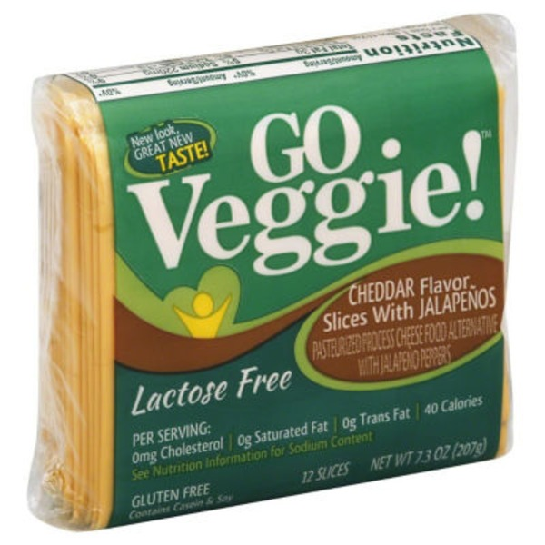 GO Veggie! Lactose Free Cheese Alternative Cheddar Flavor Slices With Jalapenos - 12 CT
