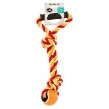 Pet Champion 2 Knot Medium Dog Rope Toy with Ball & Handle (Assorted Colors)