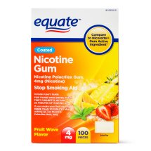 Equate Coated Nicotine Gum Stop Smoking Aid Fruit Wave Flavor, 4 mg, 100 Ct