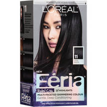 L'Oreal Paris Feria Rebel Chic Permanent Hair Color Gel Kit Cool Black 11.