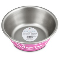 Harmony Pink Meow Stainless Steel Cat Bowl 1 Cup