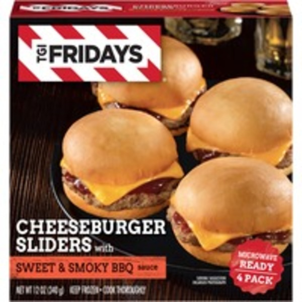 T.G. I. Friday's with Sweet & Smoky BBQ Sauce Cheeseburger Sliders