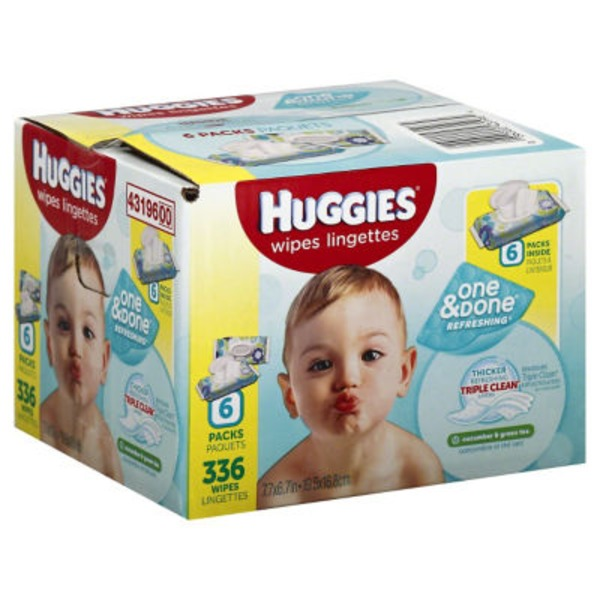 Huggies One & Done Refreshing Cucumber & Green Tea Baby Wipes