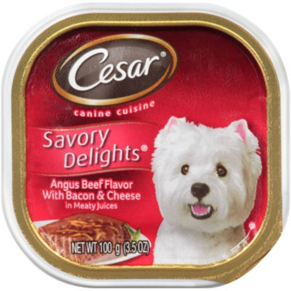 Cesar Canine Cuisine Savory Delights Angus Beef Flavor with Bacon & Cheese Wet Dog Food