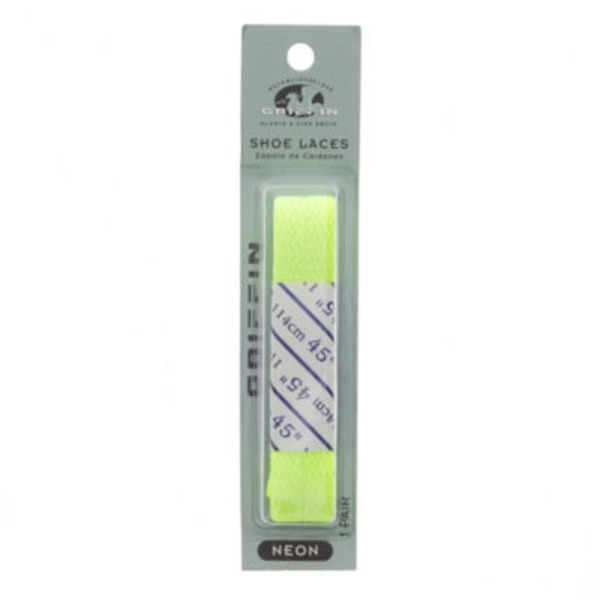 Griffin Flat Shoe Laces, Neon Yellow
