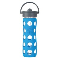 Lifefactory 16 Ounce Reusable Glass Bottle With Straw Cap
