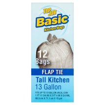 Top Job Basic Flap Tie Tall Kitchen Bags, 13 gallon, 12 count