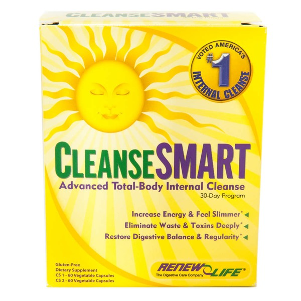Renew Life Cleanse Smart Advanced Total-Body Internal Cleanse 30-Day Program Vegetable Capsules - 120 CT