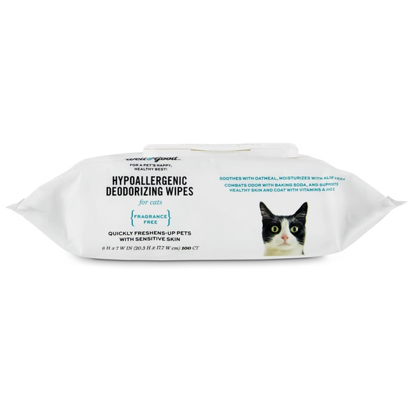 Well & Good Fragrance Free Hydroallergenic Deodorizing Cat Wipes