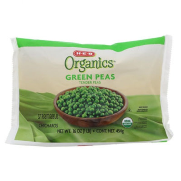 H-E-B Organics Green Tender Peas, Steamable