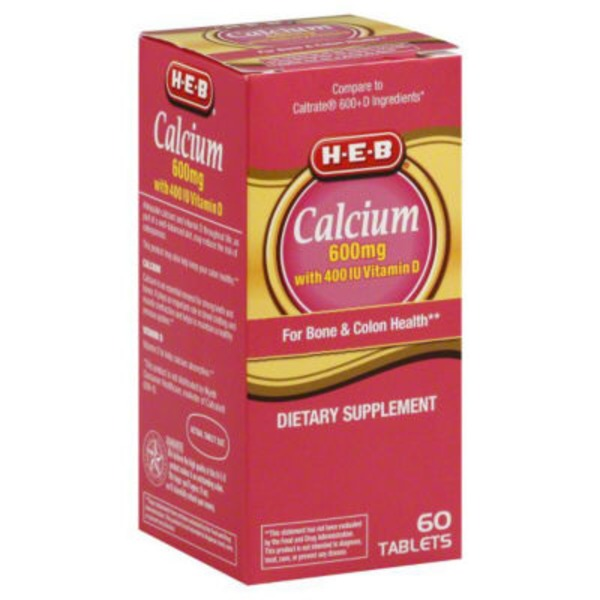H-E-B Calcium 600 Mg With 400 Iu Vitamin D Tablets