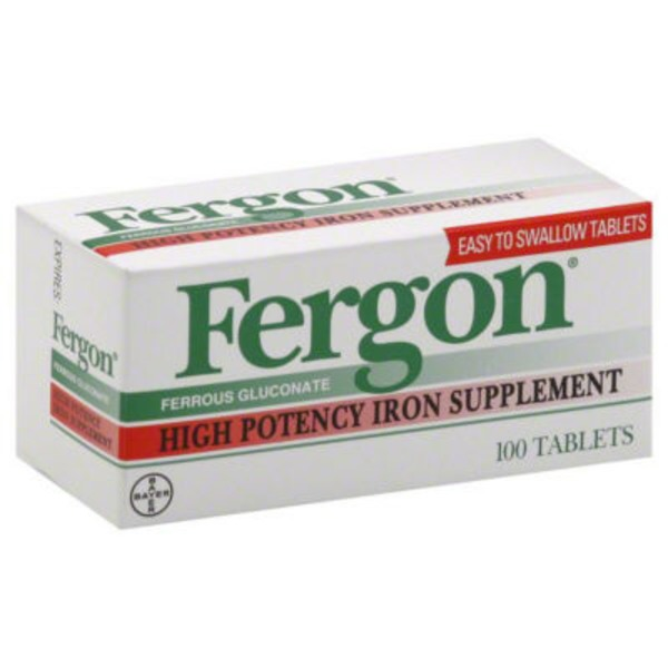 Fergon Ferrous Gluconate High Potency Iron Supplement Tablets