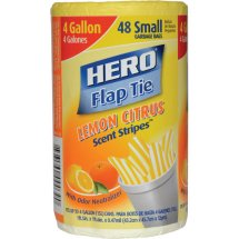 Hero Lemon Citrus Scent Stripes Flap Tie Small Garbage Bags, 4 Gallon, 48 ct