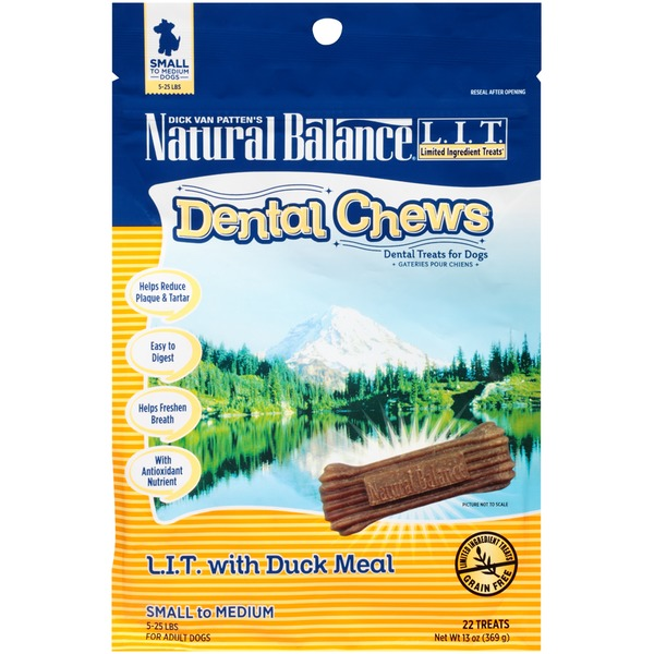 Natural Balance Dental Chews L.I.T. with Duck Meal Small to Medium Dog Treats