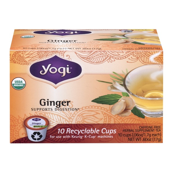 Yogi Ginger Herbal Supplement Tea Recyclable Cups - 10 CT