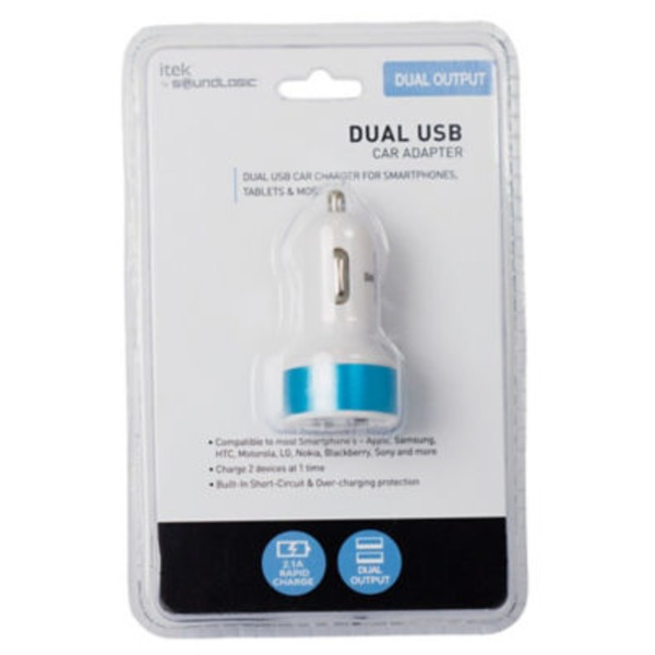Itek Dual USB Car Charger Blue