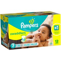 Pampers Swaddlers Diapers, Size 3, 136 Diapers