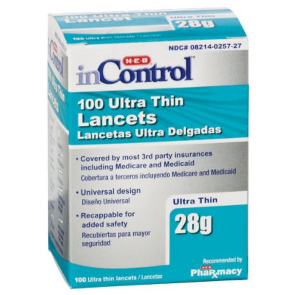 H-E-B In Control Ultra Thin 28 Gauge Lancets