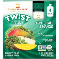 Happy Squeeze Organic Twist Apple, Kale & Mango Blended Fruit & Veggie Snack Pouch