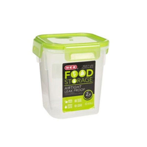 H-E-B 2.8 Cup Airtight Leak Proof Food Storage Container With Green Lid