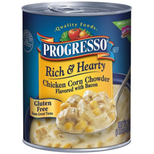 Progresso Rich & Hearty Chicken Corn Chowder Flavored with Bacon Soup