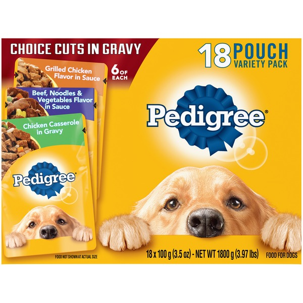 Pedigree Variety Pack Grilled Chicken Flavor in Sauce, Beef, Noodles & Vegetables Flavor in Sauce, Chicken Casserole in Gravy Dog Food