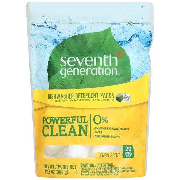 Seventh Generation Lemon Scent Dishwasher Detergent Packs