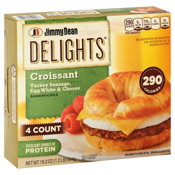 Jimmy Dean Delights Croissant Sandwiches Turkey Sausage, Egg White & Cheese