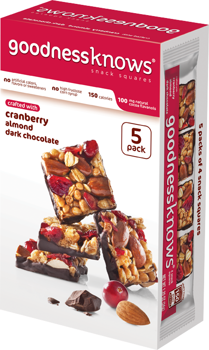 goodnessknows Cranberry Almond and Dark Chocolate Snack Squares 5-Count Box
