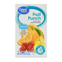 Great Value Drink Mix, Fruit Punch, Sugar-Free, 0.78 oz, 10 Count