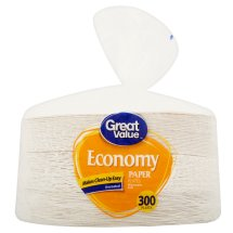 Great Value Economy Paper Plates, 9', 300 Count
