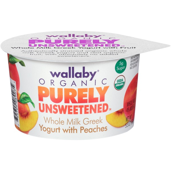 Wallaby Organic Purely Unsweetened Greek Whole Milk with Peaches Yogurt