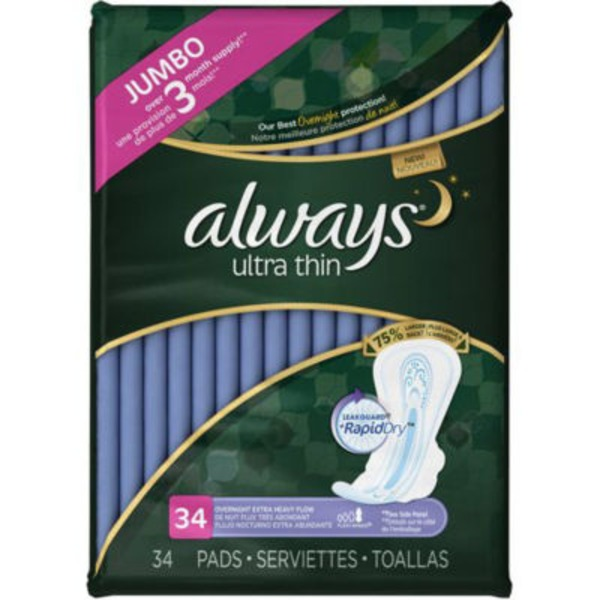 Always Ultra Always Ultra Thin Size 5 Extra Heavy Overnight Pads With Wings, Unscented, 34 count Feminine Care