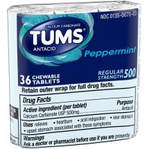Tums® Regular Strength 500 Peppermint Antacid Chewable Tablets 3-12 ct Pack