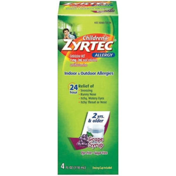 Zyrtec Children's Indoor & Outdoor Allergies Grape Syrup