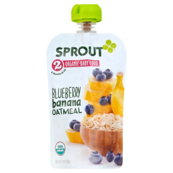 Sprouts 2 Organic Baby Food, Blueberry Banana Oatmeal