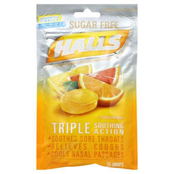 Halls Sugar Free Citrus Blend Menthol Drops Cough Suppressant/Oral Anesthetic