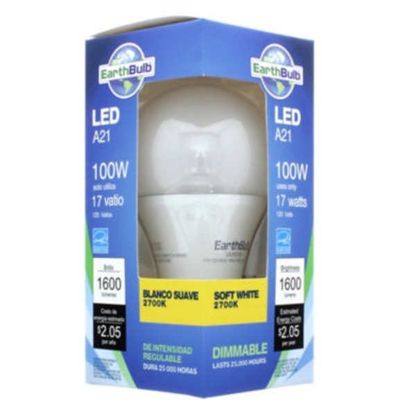Earthtronics 18 W A21 2700 K 300 Soft White Dimmable Bulb
