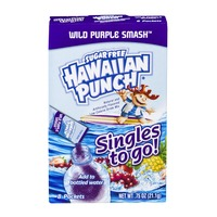 Hawaiian Punch Singles To Go! Sugar Free Drink Mix Packets Wild Purple Smash - 8 CT