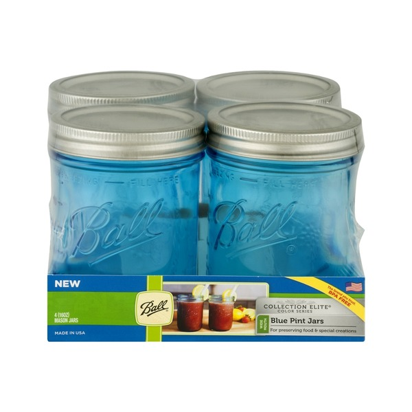 Ball Collection Elite Pint Jars Blue - 4 CT