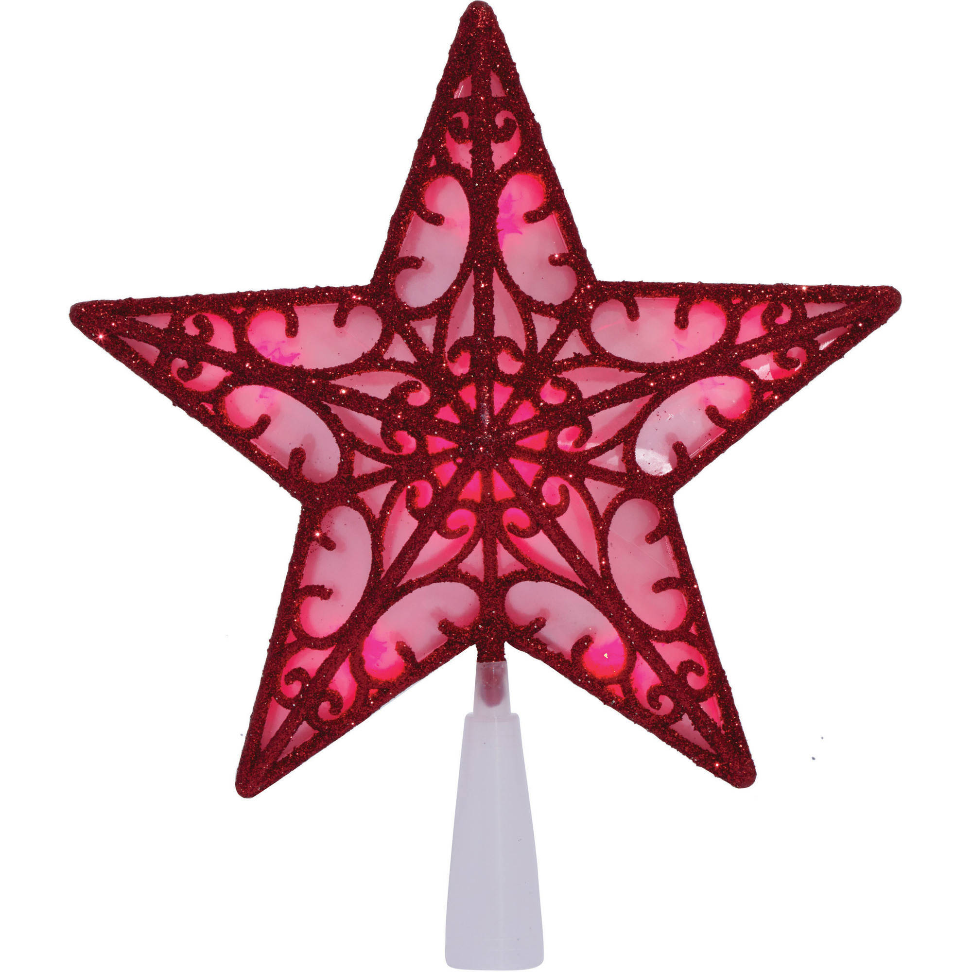 Holiday Time Christmas Ornaments 9 B/O 10 UL 9 Glittering Red Metal-Look Star Tree Topper with Red LED Bulbs