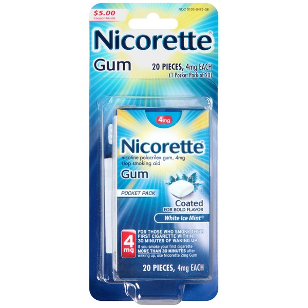 Nicorette 4mg Ice Mint Gum Stop Smoking Aid