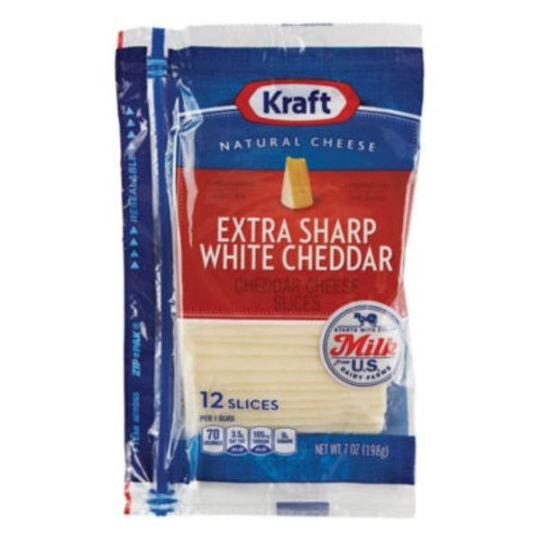 Kraft Natural Slices Extra Sharp White Cheddar Slices Cheese
