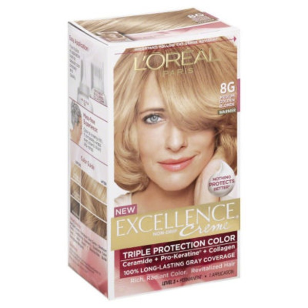 Excellence Creme Triple Protection Color 8G Medium Golden Blonde Hair Color