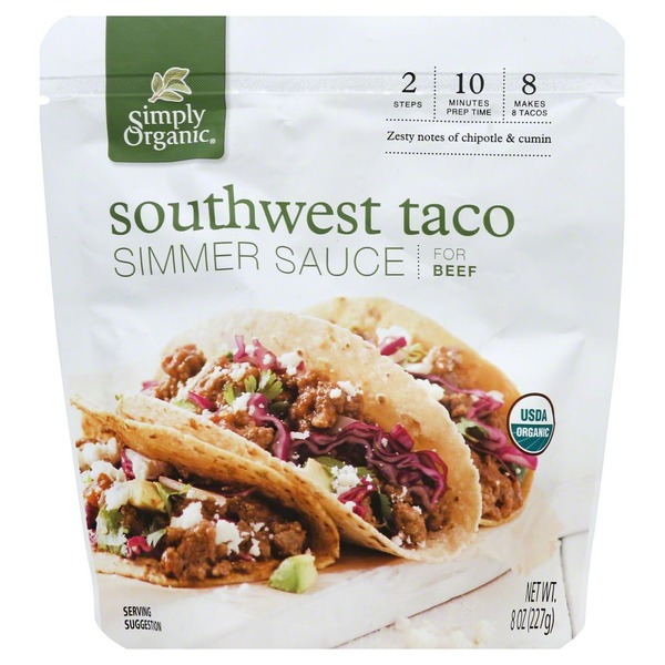 Simply Organic Simmer Sauce, for Beef, Southwest Taco