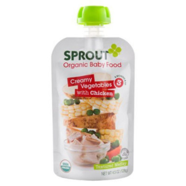 H E B Sprouts Baby Food Organic Creamy Vegetables With Chicken 3